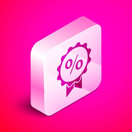 Isometric Discount percent tag icon isolated on pink background. Shopping tag sign. Special offer sign. Discount coupons symbol. Silver square button. Vector Illustration