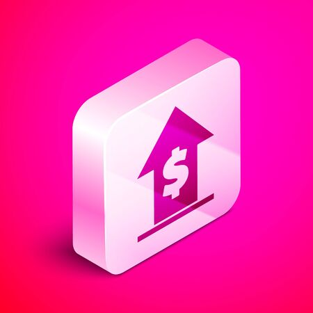Isometric Financial growth and coin icon isolated on pink background. Increasing revenue. Silver square button. Vector Illustration