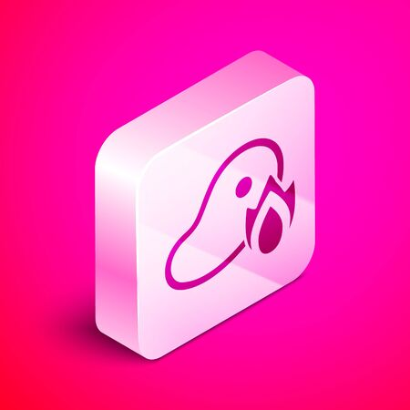 Isometric Grilled steak meat and fire flame icon isolated on pink background. Silver square button. Vector Illustration