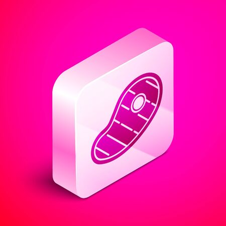 Isometric Steak meat icon isolated on pink background. Silver square button. Vector Illustration Illusztráció