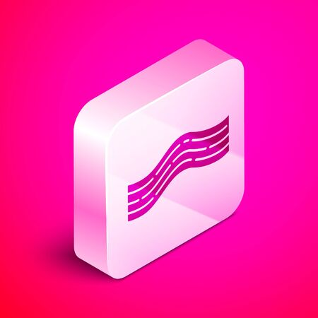 Isometric Bacon stripe icon isolated on pink background. Silver square button. Vector Illustration