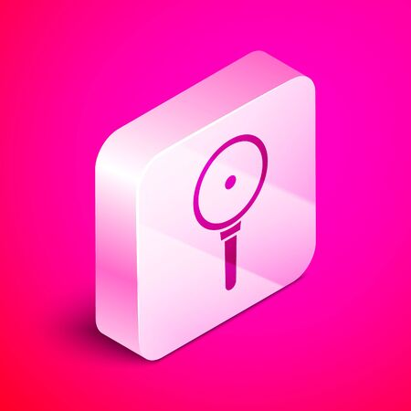 Isometric Frying pan icon isolated on pink background. Fry or roast food symbol. Silver square button. Vector Illustration