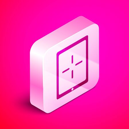 Isometric Portable video game console icon isolated on pink background. Gamepad sign. Gaming concept. Silver square button. Vector Illustration