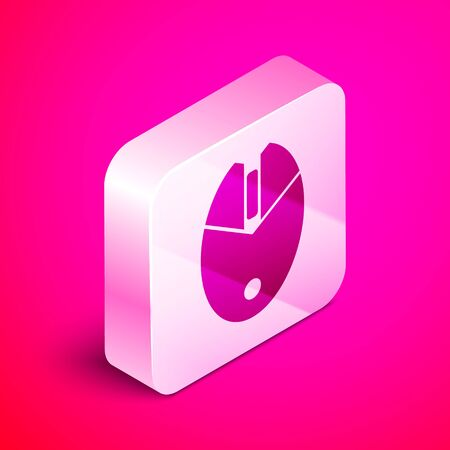 Isometric Computer mouse gaming icon isolated on pink background. Optical with wheel symbol. Silver square button. Vector Illustration Ilustração