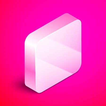 Isometric Tooth drill icon isolated on pink background. Dental handpiece for drilling and grinding tools. Silver square button. Vector Illustration