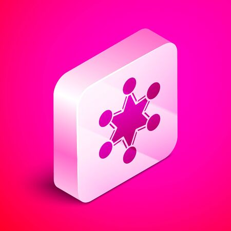 Isometric Police badge icon isolated on pink background. Sheriff badge sign. Shield with star symbol. Silver square button. Vector Illustration  イラスト・ベクター素材