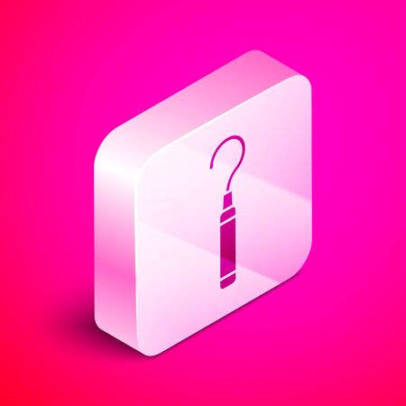 Isometric Dental explorer scaler for teeth icon isolated on pink background. Silver square button. Vector Illustration 일러스트