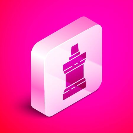 Isometric Mouthwash plastic bottle icon isolated on pink background. Liquid for rinsing mouth. Oralcare equipment. Silver square button. Vector Illustration