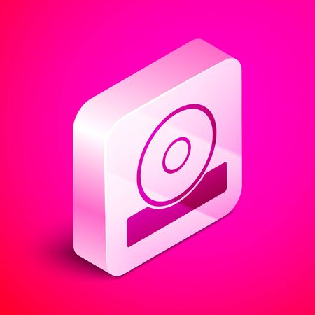 Isometric Otolaryngological head reflector icon isolated on pink background. Equipment for inspection the patients ear, throat and nose. Silver square button. Vector Illustration