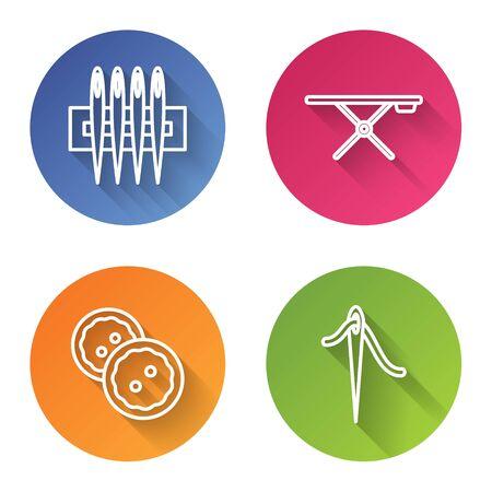 Définir la ligne Aiguille à coudre, Planche à repasser, Bouton de couture pour vêtements et Aiguille pour coudre avec du fil. Bouton de cercle de couleur. Vecteur Vecteurs
