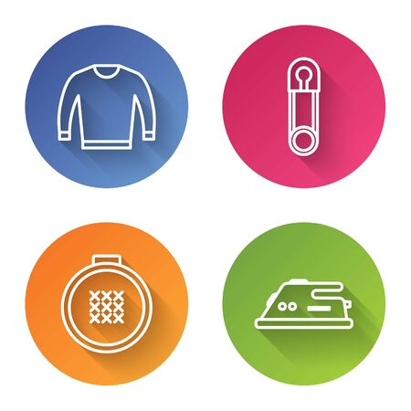 Set line Sweater, Classic closed steel safety pin, Round adjustable embroidery hoop and Electric iron. Color circle button. Vector