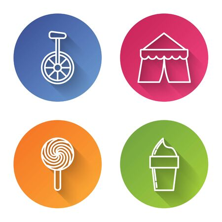 Set line Unicycle or one wheel bicycle, Circus tent, Lollipop and Ice cream in waffle cone. Color circle button. Vector