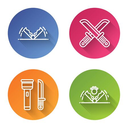 Set line Trap hunting, Crossed hunter knife, Flashlight and knife and Trap hunting. Color circle button. Vector Çizim