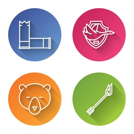 Set line Cartridges, Flying duck on shield, Bear head and Flame arrow. Color circle button. Vector