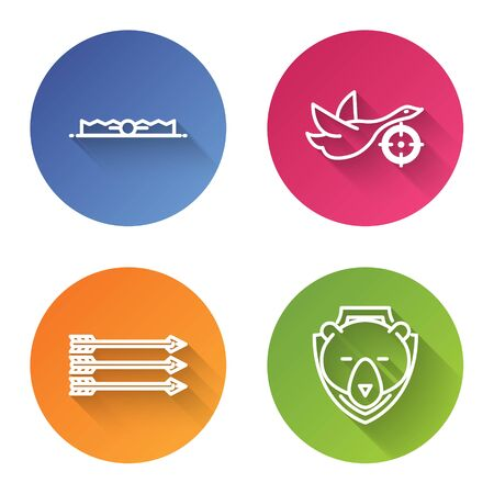Set line Trap hunting, Hunt on duck with crosshairs, Hipster arrows and Bear head on shield. Color circle button. Vector
