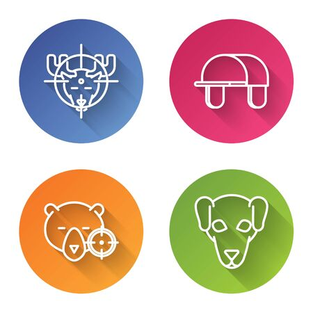 Set line Hunt on moose with crosshairs, Hunter hat, Hunt on bear with crosshairs and Hunting dog. Color circle button. Vector Illustration