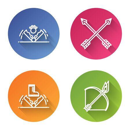 Set line Trap hunting, Crossed arrows, Trap hunting and Bow and fire arrow. Color circle button. Vector