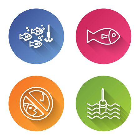 Set line Fishing hook under water with fish, Fish, No fishing and Fishing float in water. Color circle button. Vector