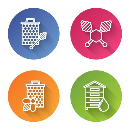Set line Honeycomb with honey dipper stickicon, Honey dipper stick, Bee and honeycomb and Hive for bees. Color circle button. Vector