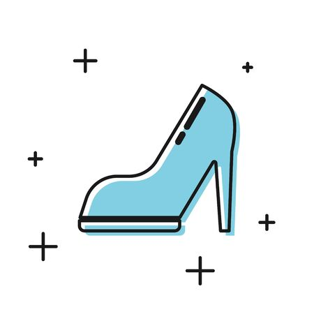 Black Woman shoe with high heel icon isolated on white background. Vector Illustration Stock Illustratie