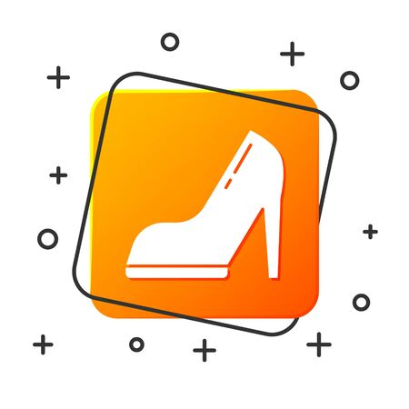 White Woman shoe with high heel icon isolated on white background. Orange square button. Vector Illustration