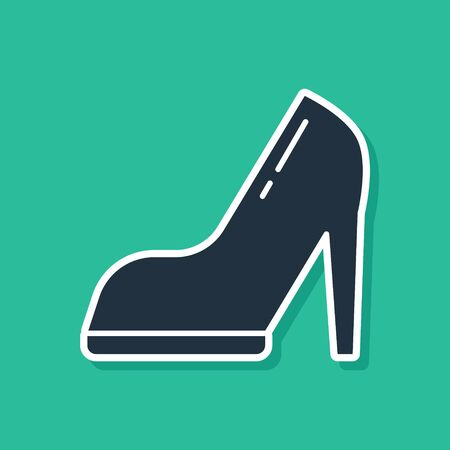 Blue Woman shoe with high heel icon isolated on green background. Vector Illustration