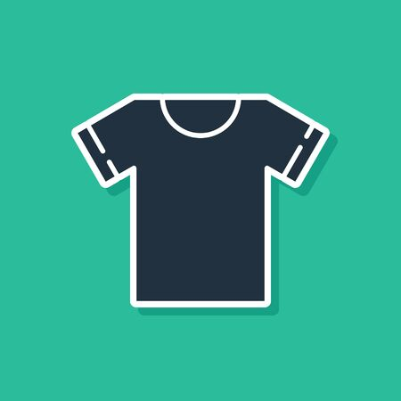 Blue T-shirt icon isolated on green background. Vector Illustration Illustration