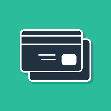 Blue Credit card icon isolated on green background. Online payment. Cash withdrawal. Financial operations. Shopping sign. Vector Illustration Vectores