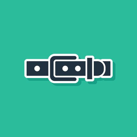 Blue Leather belt with buttoned steel buckle icon isolated on green background. Vector Illustration