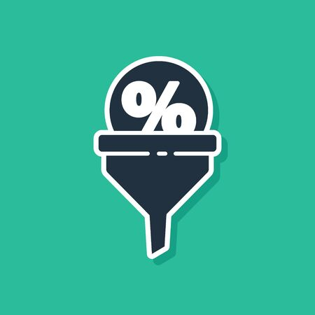 Blue Lead management icon isolated on green background. Funnel with discount percent. Target client business concept. Vector Illustration