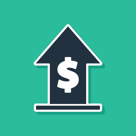 Blue Financial growth and coin icon isolated on green background. Increasing revenue. Vector Illustration 일러스트
