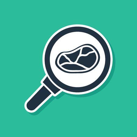 Blue Steak meat in frying pan icon isolated on green background. Vector Illustration Vektoros illusztráció