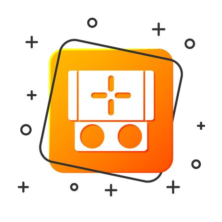 White Portable video game console icon isolated on white background. Gamepad sign. Gaming concept. Orange square button. Vector Illustration