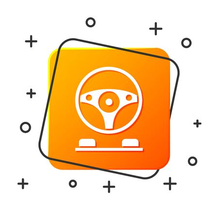 White Racing simulator cockpit icon isolated on white background. Gaming accessory. Gadget for driving simulation game. Orange square button. Vector Illustration