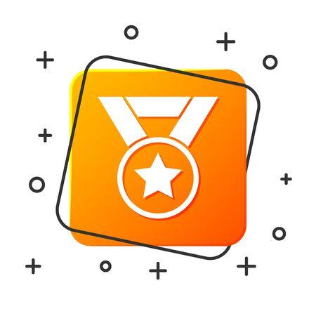 White Medal icon isolated on white background. Winner symbol. Orange square button. Vector Illustration