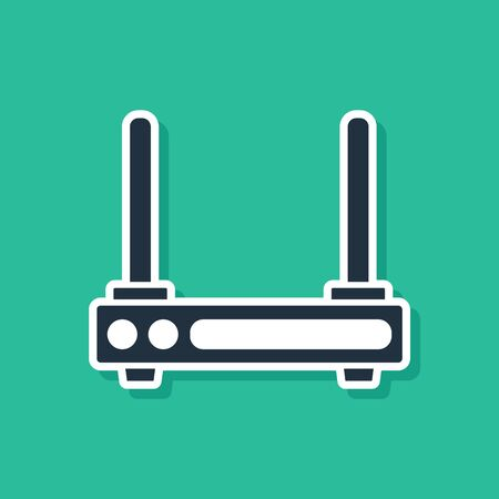 Blue Router and signal symbol icon isolated on green background. Wireless modem router. Computer technology internet. Vector Illustration
