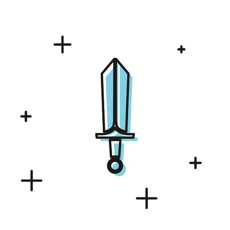 Black Sword for game icon isolated on white background. Vector Illustration