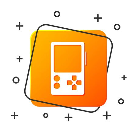 White Portable video game console icon isolated on white background. Gamepad sign. Gaming concept. Orange square button. Vector Illustration 矢量图像