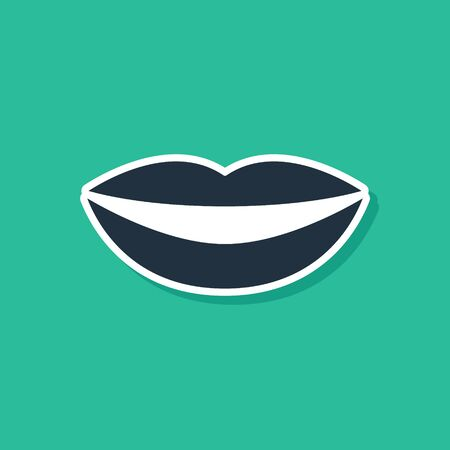 Blue Smiling lips icon isolated on green background. Smile symbol. Vector Illustration