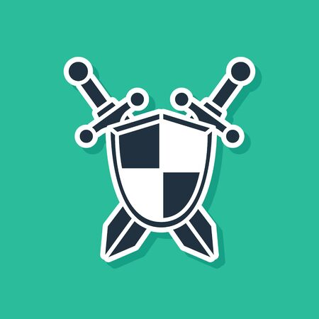 Blue Medieval shield with crossed swords icon isolated on green background. Vector Illustration Vettoriali