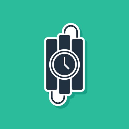 Blue Detonate dynamite bomb stick and timer clock icon isolated on green background. Time bomb - explosion danger concept. Vector Illustration