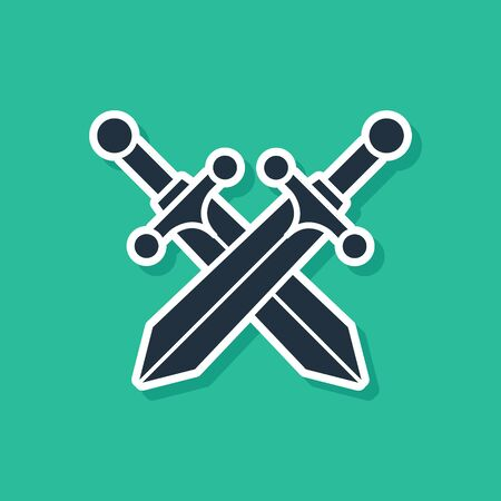 Black Crossed medieval sword icon isolated on green background. Vector Illustration