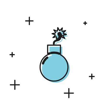 Black Bomb ready to explode icon isolated on white background. Vector Illustration