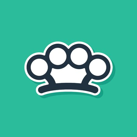 Blue Brass knuckles icon isolated on green background. Vector Illustration
