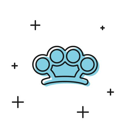 Black Brass knuckles icon isolated on white background. Vector Illustration Illustration