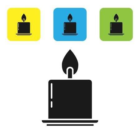 Black Burning candle in candlestick icon isolated on white background. Cylindrical candle stick with burning flame. Set icons colorful square buttons. Vector Illustration Stock Illustratie