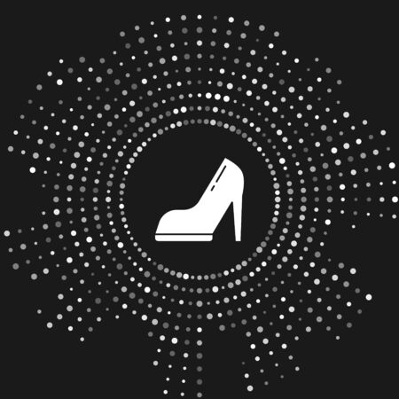 White Woman shoe with high heel icon isolated on grey background. Abstract circle random dots. Vector Illustration