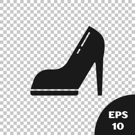 Black Woman shoe with high heel icon isolated on transparent background. Vector Illustration