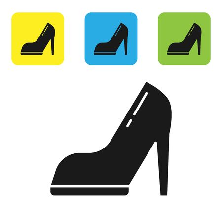 Black Woman shoe with high heel icon isolated on white background. Set icons colorful square buttons. Vector Illustration Stock Illustratie