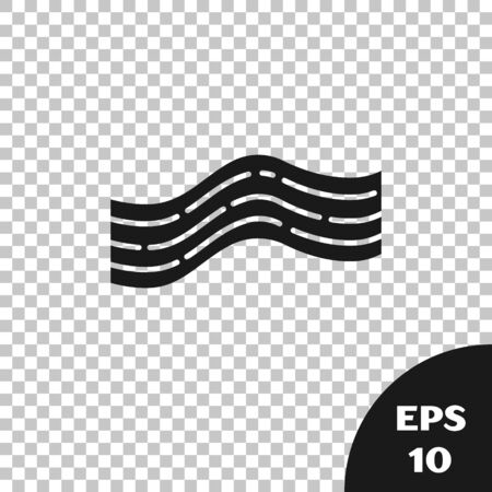 Black Bacon stripe icon isolated on transparent background. Vector Illustration